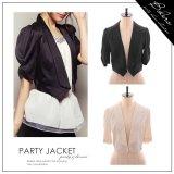 【ジャケット】2color・シャーリング入り5分袖ジャケット