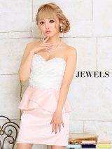 【XS-Sサイズ/5カラー】パールビジューを贅沢に散りばめたリッチなペプラムドレス☆ミニキャバドレス