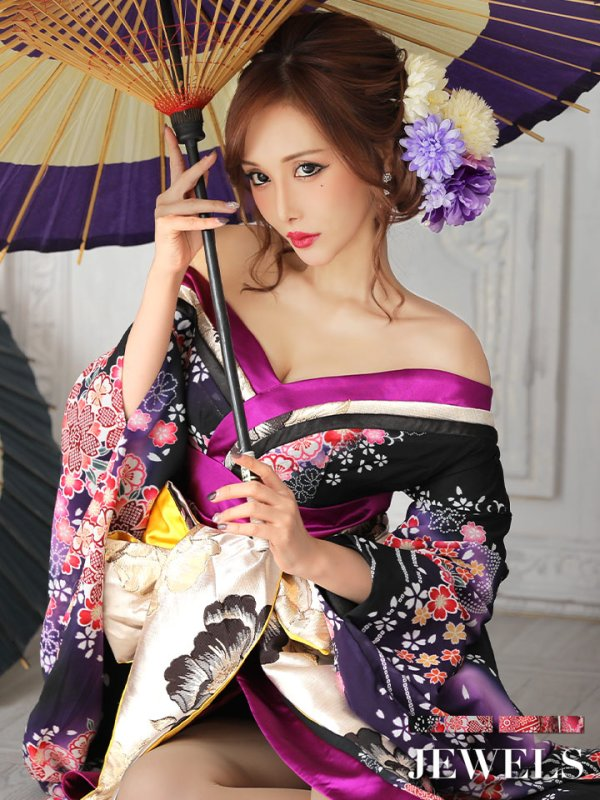 画像2: 花魁ドレス/着物ドレス/和柄/和装ドレス/キャバドレス【S〜XLサイズ/2カラー】[HC02]