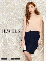 【4サイズ/3カラー】【Jewels Party ジュエルズパーティー】シフォンプリーツコクーンドレス[HC02]