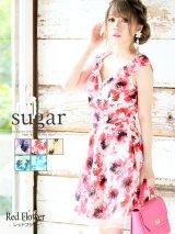 【高級ドレスSALE】華やかなグラフィックフラワーが彩る♪フレアミニワンピースキャバドレス SU_BE [HC02]