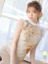 フラワー刺繍ドレス/ハイネック/レース/キャバドレス【S-XLサイズ/3カラー】[OF09]