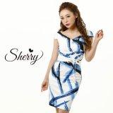 【Sherry】【S-Lサイズ/1カラー】カシュクール風モダンプリントひざ丈ミニドレス[OF02]