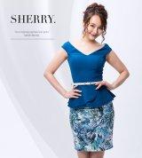 【Sherry】【S-Lサイズ/1カラー】フレアペプラムリーフプリントミニドレス[OF02]
