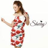 【Sherry】【S-Lサイズ/1カラー】サイドビッグリボンビビットフラワープリントひざ丈ミニドレス[OF02]