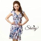 【Sherry】【S-Lサイズ/1カラー】リーフプリントカシュクール風フリルひざ丈ミニドレス[OF02]