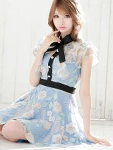 花刺繍ドレス/リボン/フレア/キャバドレス【S-Lサイズ/1カラー】[OF04]