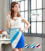 【Sherry】【S-Mサイズ/3カラー】斜め切り替え配色スカートワンピース[HC02]