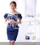 【Sherry】【S-XLサイズ/2カラー】ドレープオフショルダーフラワープリントミニドレス[OFT02]