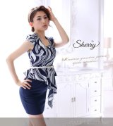 【Sherry】【S-XLサイズ/1カラー】アシンメトリーフリル幾何学プリントワンピース[OF02]