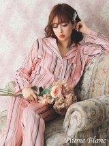 【Plume Blanc プリュムブラン】青木りえちゃんプロデュース!!【ルームウェア】ピンクストライプサテン パジャマ[OF02]