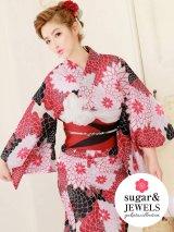 【2019浴衣】白x赤x黒菊模様浴衣セット(19obi-2/Yobi-030-WH/19himo-BK)[HC02]