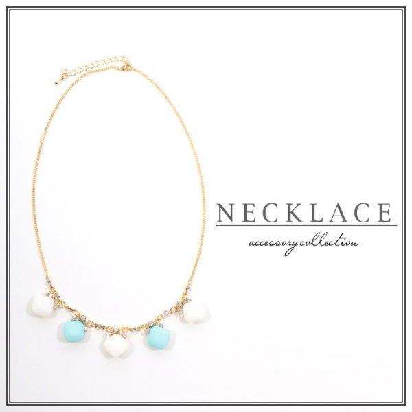 画像1: 【ネックレス】鮮やかなブルーがいつものドレススタイルのアクセントに☆カラービジューネックレス