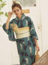 【オリジナル浴衣】トロピカルネイビーパイン浴衣セット(19obi-3/Yobi-030-BE/19himo-BK)[HC02][OY4007SB-20SS]