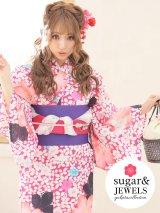 【浴衣3点セット】小花模様浴衣セット(Yobi030WH / Yhimo201 / A810wkPK)[HC02]