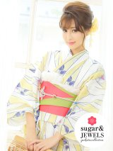 【浴衣3点セット】白x黄色麻の葉模様浴衣セット(Yobi030WH / Yhimo801 / A809wkYE)[HC02]
