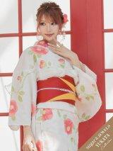 【2020年浴衣】クリーム地×コーラルピンク花模様浴衣セット(19obi-9/Yobi-030-WH/19himo-PL)[OF03]