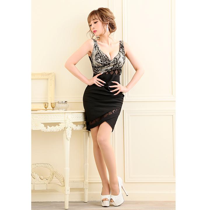 a938db68893fa カシュクール風 レース シャーリングタイトスカート キャバドレス S-Mサイズ 1カラー  OF09   2022YNdz-1811-1