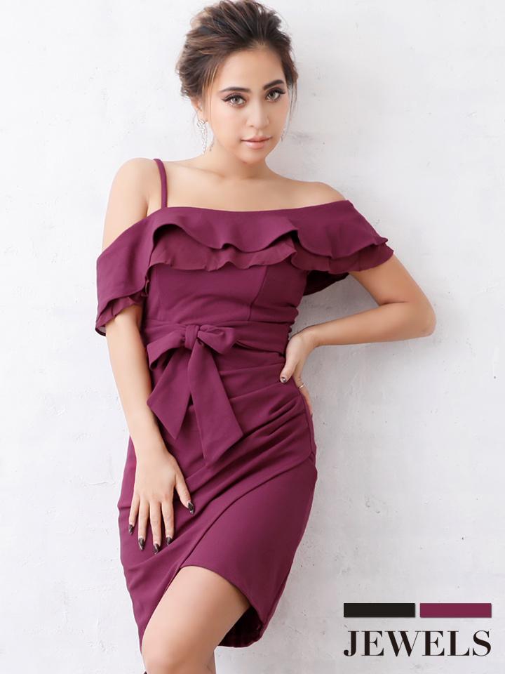782aad6e4941e ワンショルダー ワンカラー ラップスカート風 キャバドレス Fサイズ 2カラー  OF03   3097LR-1812-2