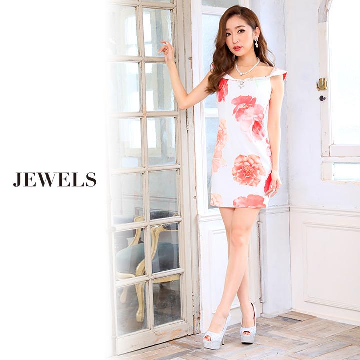 b4696d35593f6  S-Lサイズ 1カラー ビビットカラーの花柄が華やかなオフショルタイトワンピース☆ミニキャバドレス jIM1701 OF03    J-146IM-1701